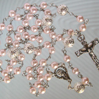 Catholic Rosary Glass Pink Pearls and Silver Plated Textured Stardust Beads Handmade Unbreakable