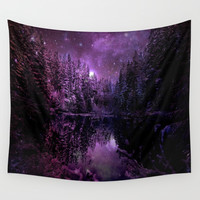 A Cold Winter's Night : Deep Purple Winter Wonderland Wall Tapestry by 2sweet4words Designs