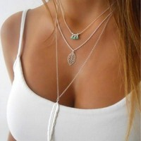 Womens Gold Silver Chain Long Feather Necklace  - Ships Free