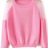 Pink Mesh Embroidered Long Sleeve Sweater