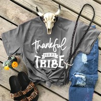 Thankful For My Tribe t-shirt thanksgiving day funny slogan women fashion tees grunge goth camisetas tumblr tops cotton t shirt