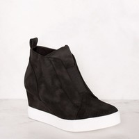 All Day Black Slip On Wedge Sneaker