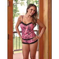 Wilderness Dreams Naked North Pink Camo and Black Lace-Trimmed Boy Short Pantie