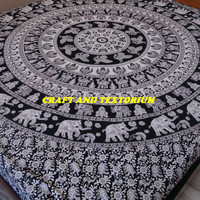 Elephant Tapestry, Mandala Tapestry, Beach Throw, Bohemian, Bedspread, Tapestry, Decor, Hippie Tapestry, Wall Hanging, Picnic Blanket D20