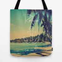Refuse to Sink Anchor Vintage Summer Beach Tote Bag by RexLambo
