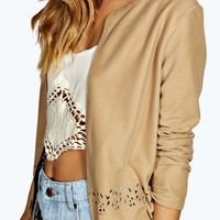 Kourtney Lazer Cut Suedette Blazer