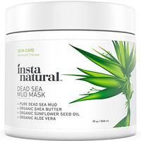InstaNatural Dead Sea Mud Mask - Reduce Facial Pores - Organic for Oily & Acne Prone Skin, Blemishes & Complexion - Mineral Infused Fine Line Reducing Product with Shea Butter & Aloe Vera - 19 OZ