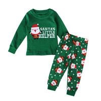 New 2PCS Child Christmas SANTA'S LITTLE HELPER Clothing Cotton Long Sleeves Kids Children Santa Printed Suit Sets 2-7 Years L08