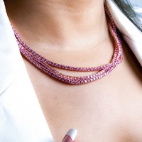 3mm Pink Round Cut Tennis Necklace