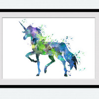 Unicorn watercolor poster Unicorn art print Unicorn colorful illustration Home decoration Kid room wall art Nursery room decor Gift art W473