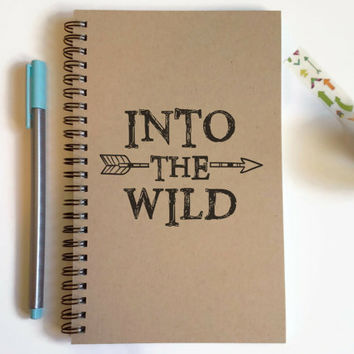 Writing journal, spiral notebook, cute diary, small sketchbook, scrapbook, memory book, 5x8 journal - Into the wild, adventure, travel