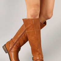Breckelle Dallas-21 Buckle Strap Round Toe Riding Knee High Boot