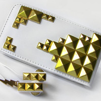 Leather Iphone case and Earbuds with gold studs by ketchupize