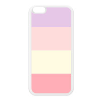 Light Pastel Color Stripes White Silicon Rubber Case for iPhone 6 Plus by UltraCases