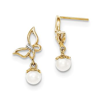 14k Yellow Gold Real Diamond & 5-6mm FW Cultured Pearl Butterfly Post Dangle Ear