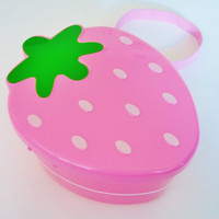 CUTE!  STRAWBERRY SHAPE JAPANESE 2-TIER BENTO LUNCH BOX SET PINK 650ml