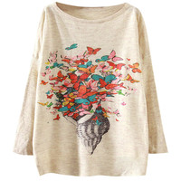 Butterfly Print Loose Sweater