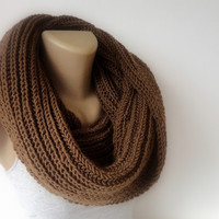 brown winter scarf, infinity scarf, knitting scarf, unisex scarves, eternity scarf, fashion accessories