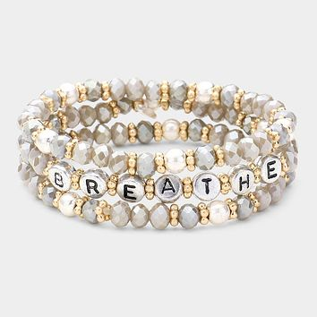 3Pcs - Breathe Faceted Bead Layered Stretch Bracelets