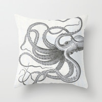 Vintage nautical steampunk octopus kraken sea monster steampunk drawing Throw Pillow by iGallery