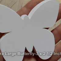 """24 Extra Large White Butterfly Die Cut, Paper Butterfly Punch, Butterfly Party, Butterfly Shower, DIY Wedding Place Card (3 x 2 1/2"""")"""