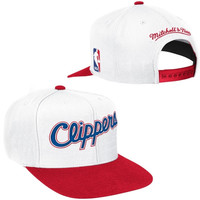 Los Angeles Clippers Mitchell & Ness Current XL Logo 2 Tone Adjustable Hat – White
