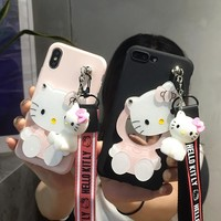 For iPhone XS MAX case Cartoon Hello Kitty Mirror Soft Phone Cases For iPhone X XS XR Kitty back cover + Strap