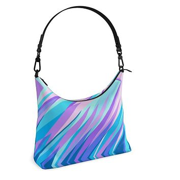 Blue Pink Abstract Eighties Square Hobo Bag by The Photo Access