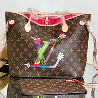 Louis Vuitton LV Ladies Classic Printed Color Block Letter Shopping Bag D Two-piece Shoulder Bag