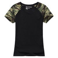 Camouflage T Shirt Women/Tee shirt Femme/Fashion Cotton T-shirt,Army Green Women's Sport Clothing Top Tees/T-Shirt Military