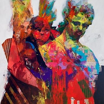 """Sonny and the Mohicans"" By Colin Merrin, Acrylic and collage on canvas"