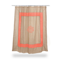Monogrammed Burlap Shower Curtain CORAL boarder  Font shown MASTER CIRCLE in coral
