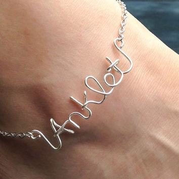 Name anklet, Personalized anklet, wire wrapped anklet wire wrapped name, name or word, personalized anklet, name, initials, personal, gift