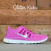 Women's Nike Free 5.0+ Running Shoes By Glitter Kicks - Hand Customized With Swarovski Crystal Rhinestones - White/Pink