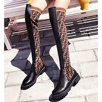 Fendi Fashion New More Letter Print Long Boots Shoes Women
