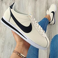 Nike Nike Classic Cortez Forrest Series  Beige + black hook(small blue Sign)