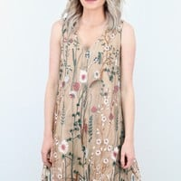 Floral Embroidered Mesh Tank Dress {Nude}