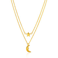 Moon + Star Charms on Double Strand Chain Necklace in 14k Yellow Gold