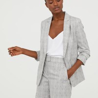 Pattern-weave Jacket - Light gray/plaid - Ladies | H&M US