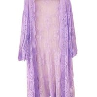 Pure Color Lace Cutout Cardigan With Half Sleeves