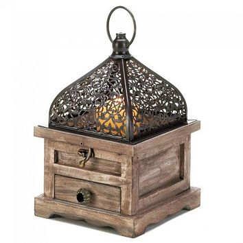 Flip-Top Wood Lantern with Drawer - 8 inches