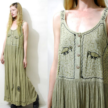 Babydoll Dress 90s Vintage Dress Green Gauze Dress Long hippie dress Embroidered Bird Boho Dress Bohemian Grunge Dress Long 1990s vtg S M