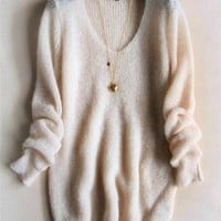 FASHION V-NECK KNIT SWEATER (nude)