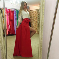 Sexy Dresses Club Wear 2016 Winter Style Lace Party Dresses Fit And Flare Patchwork Half Sleeve V Neck Split Maxi Dress Vestidos