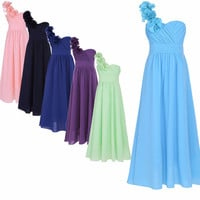 Little Girls Chiffon One-Shoulder Flower Girls Wedding Princess Pageant Dress Choose Your Color