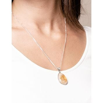 Citrine Free Form Pendant Necklace - Adjustable Silver Chain
