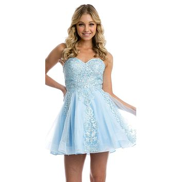 Ice Blue Strapless Homecoming Short Dress Embroidered