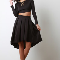 Box Pleated High-Low Midi Skirt