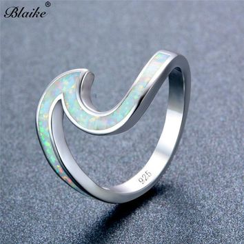 Blaike White/Green/Blue/Purple/Pink/Orange Fire Opal Ocean Wave Rings For Women 925 Sterling Silver Filled Birthstone Beach Ring