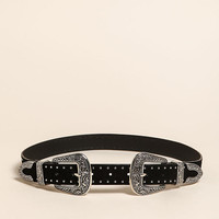 Black and Silver Studded Double Buckle Suedette Belt